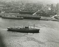 View of Delta Lines ship passing Poydras Street Wharf