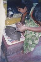 Woman working with clay