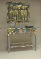 Checker-patterned desk and mirror frame