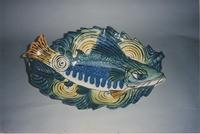 Green fish with leaf platter