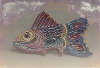 Pink and blue fish with yellow eyes
