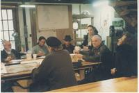 Wide view of studio group discussion