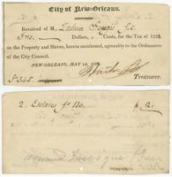 Tax receipt for the head tax on two slaves property of Tulman Goulgis, Free Man of Color.