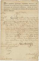 Certificate issued by Gilberto Leonard, Comptroller general of the Province of Louisiana, New Orleans, to Joseph Bogy