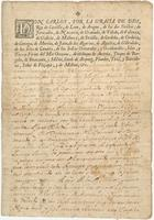 Royal military commission issued by Charles III, El Pardo, to Jacinto Panis