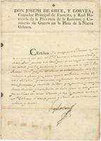 Certificate issued by Joseph de Orúe, New Orleans, to Pedro Rousseau