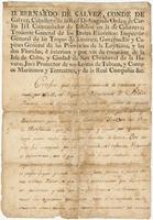 Certificate of service issued by Bernardo de Gálvez, Havana, to Pedro Rousseau, [In Louisiana]
