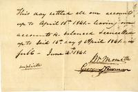 Duplicate receipt on the cancellation of debts between John Wesley Monette and George Newman