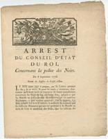 Decree of the Council of State of the King [Louis XVI], Paris, concerning regulations relating to Negroes
