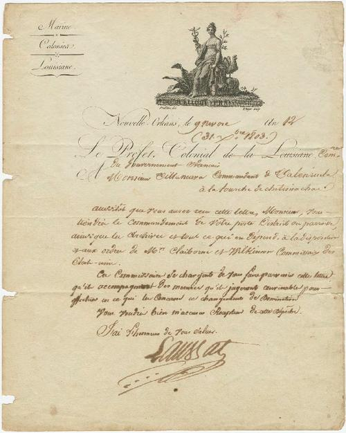 Official letter from Laussat, Colonial Prefect of the French Government, New Orleans, to Villanueva, Commandant of Valenzuela at the fork of the Chitimachas 1803