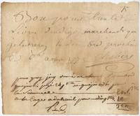 Promissory note issued by Chabert, no place, to [Jean Valentin Bobé?], [New Orleans?]