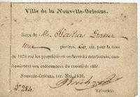 Tax receipt for a property in Faubourg St. Mary, owed by the heirs of M. Gravier