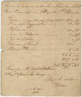 Bill issued by the Collège de Saint-Thomas for the incidental expenses of the student Pierre Beauvais