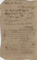Bill issued by Thomas Golding, New Orleans, to the estate [Antoine or François] Burel
