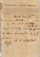 Telegram from C.F. Hatcher, Mobile, to T.H. Bartlette, Amite