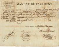 Mandats de Paiement issued by the Mayor of New Orleans in favor of various individuals