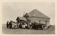 Ada schoolhouse and congregation
