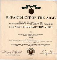 Army Commendation Medal award certificate