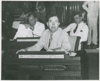 Huey Long at Coleman Lindsey's Desk