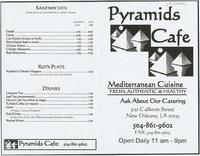 Pyramids Cafe restaurant menu