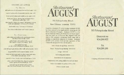 restaurant august sample menu tulane university digital library