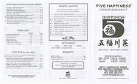 Five happiness menu