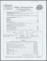 Mother's restaurant menu