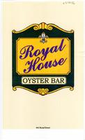 Royal House Oyster Bar restaurant menu