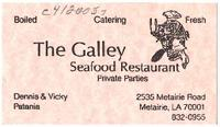 The Galley Seafood restaurant business card
