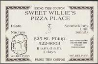 Sweet Willie's Pizza Place restaurant advertisement