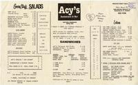 Acy's restaurant and bar menu