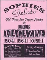 Sophie's Gelato restaurant advertisement
