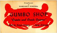 Gumbo Shop catering restaurant recipe card