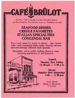Cafe Brulot flyer