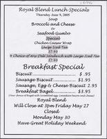 Royal Blend Coffee & Tea House restaurant specials menu