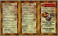 Cafe Roma delivery menu with coupons