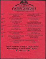 St. Ann's Cafe & Deli restaurant menu