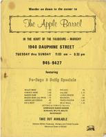 The Apple Barrel restaurant menu