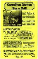 Carrollton station bar & grill flyer