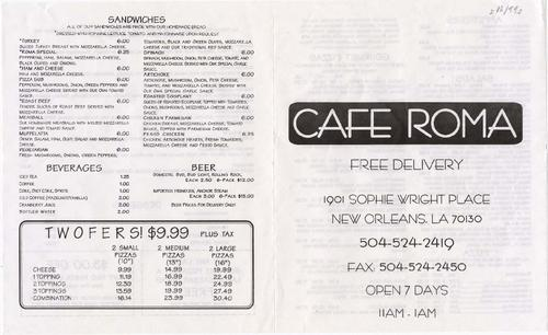 New Orleans Coupons >> Cafe Roma Restaurant Menu With Coupons Tulane University