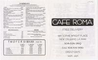 Cafe Roma restaurant menu with coupons