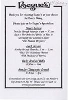 Begue's Creole restaurant and bar menu