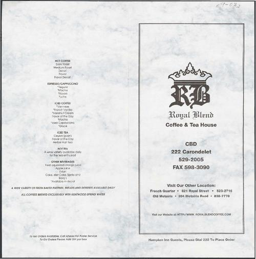 Royal Blend Coffee Amp Tea House Restaurant Menu Tulane