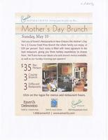 Emeril's New Orleans restaurant special Mother's Daybrunch menu