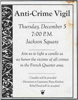 Anti-crime vigil flyer, Louisiana Pizza Kitchen