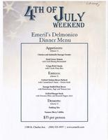 Emeril's Delmonico restaurant 4th of July menu.