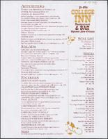 Ye Olde College Inn restaurant menu