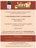 Jolies Louisiana Bistro restaurant event invitation