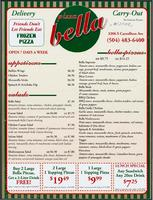 Pizza Bella restaurant menu