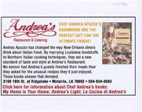 Andrea's restaurant and catering advertisement